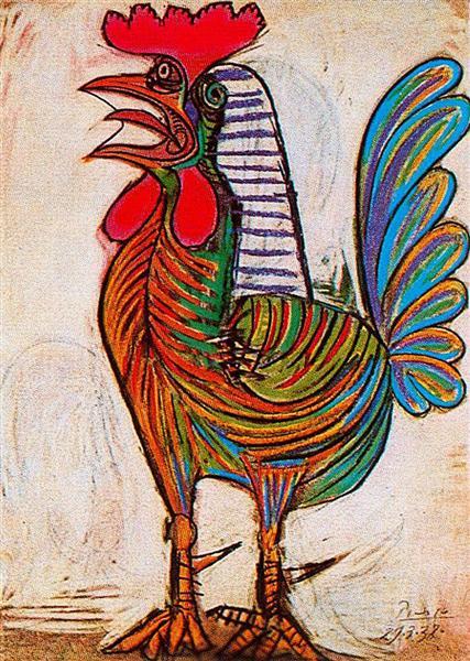 Le coq de Pablo Picasso est Pastel sur Papier de 77.5 x 54 cm fait en 1938 ©Wikiart