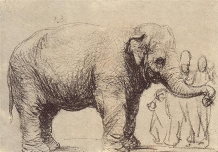 An Elephant de Rembrandt est un Charbon sur Papier de 17.9 x 25.6 cm en 1637 ©Wikiart