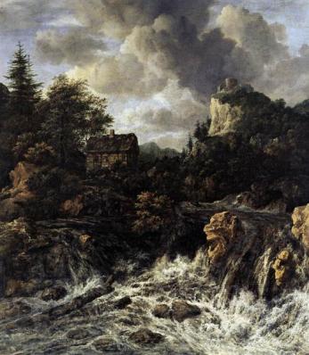 Cascade avec le château de sommet de la montagne et chalet - Jacob Van Ruisdael - 1670 - ©Wikiart