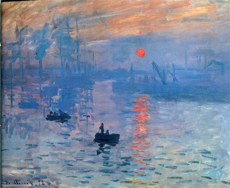 Impression soleil levant de Claude Monet est une Peinture à l'Huile sur Toile de 63 x 48 cm faite en 1873 ©Wikiart