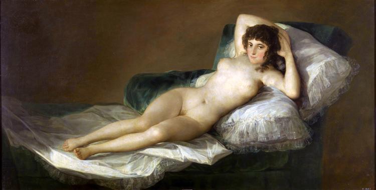 La Maja nue de Fransisco de Goya est une Peinture à l Huile sur Toile de 98 x 191 cm faite en 1800 ©Wiki-art