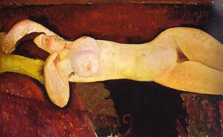 Le grand Nu de Amedeo Modigliani est une Peinture à l Huile sur Toile de 73 x 116 cm faite en 1917 ©Wiki-art