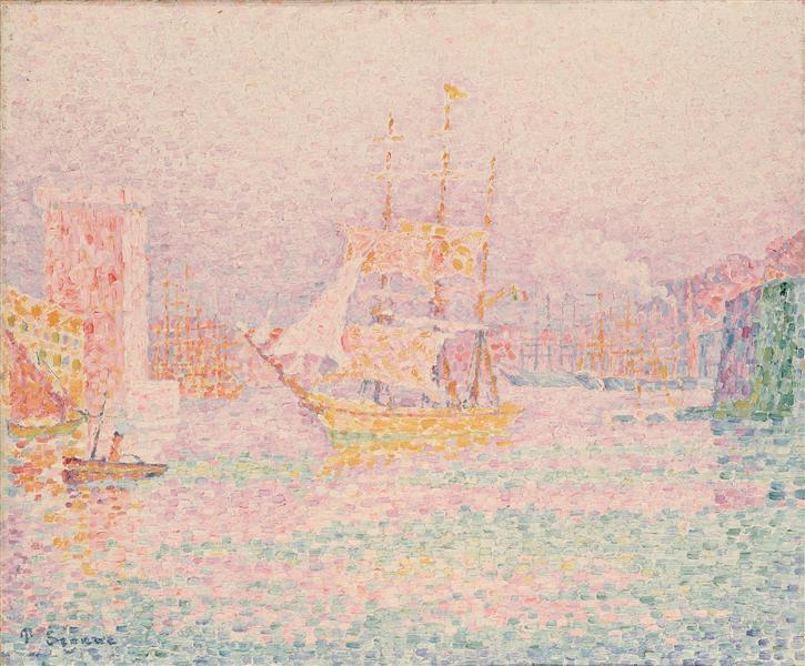 Le port de Marseilles de Paul Signac - Peinture à l'Huile sur Toile de 46 x 55 cm - 1906 - ©Wikiart