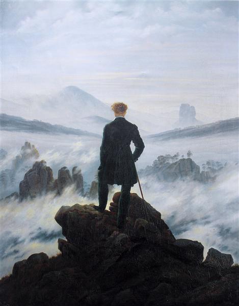 Le voyageur contemplant une mer de nuages de Caspar David Friedrich est une Peinture à l Huile de 94.8 x 74.8 cm en 1818 ©Wikiart