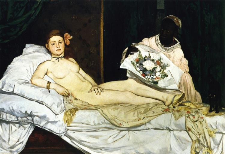 Olympia de Edouard Manet est une Peinture à l Huile sur Toile de 130.5 x 190 cm faite en 1863 ©Wiki-art
