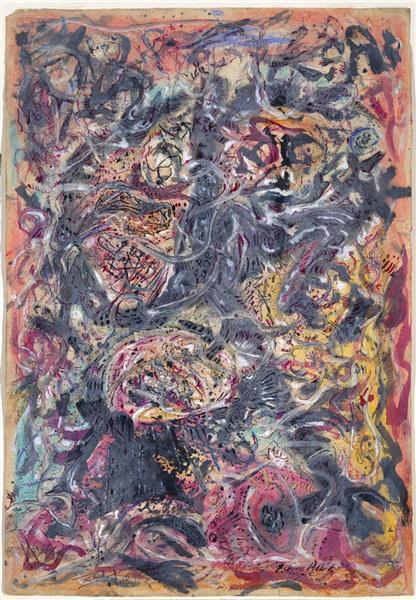 Pattern peint par Jackson Pollock est un Papier de 57.1 x 39.4 cm avec Gouache, Encre et Peinture à l eau fait en 1945