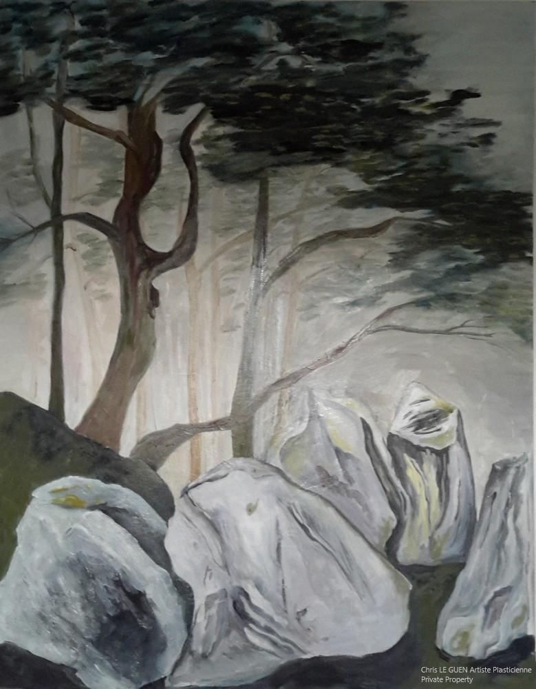 Arbres et Rochers N°1 a été peint par Chris Le Guen Artiste Plasticienne et Sculptrice