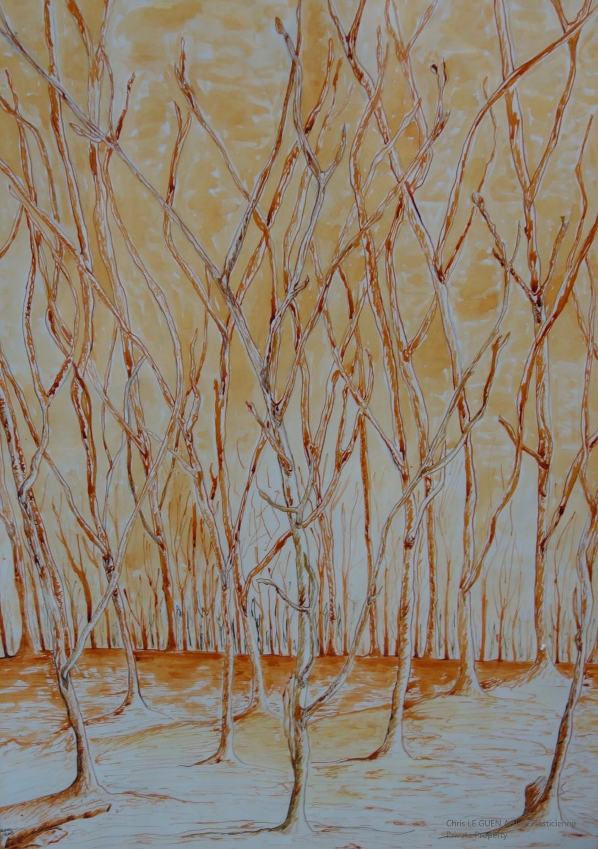 Chris Le Guen Artiste Plasticienne Peintre et Sculptrice a dessiné Arbres