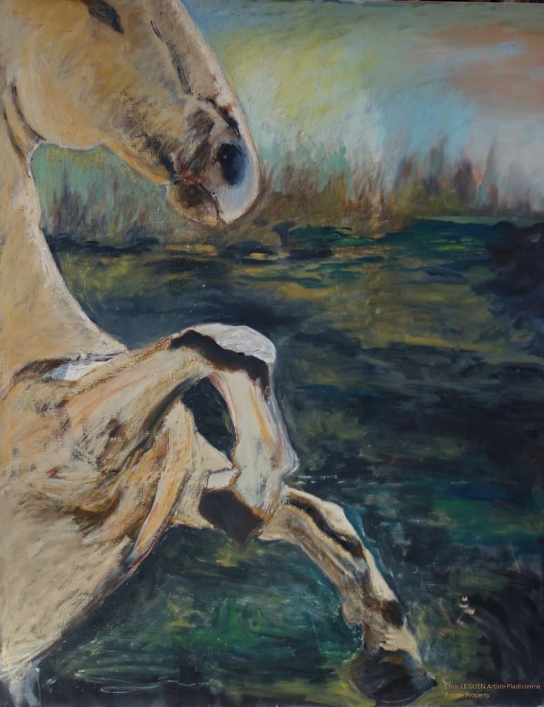 Chris Le Guen Artiste Plasticienne Peintre et Sculptrice a peint Cheval N°4
