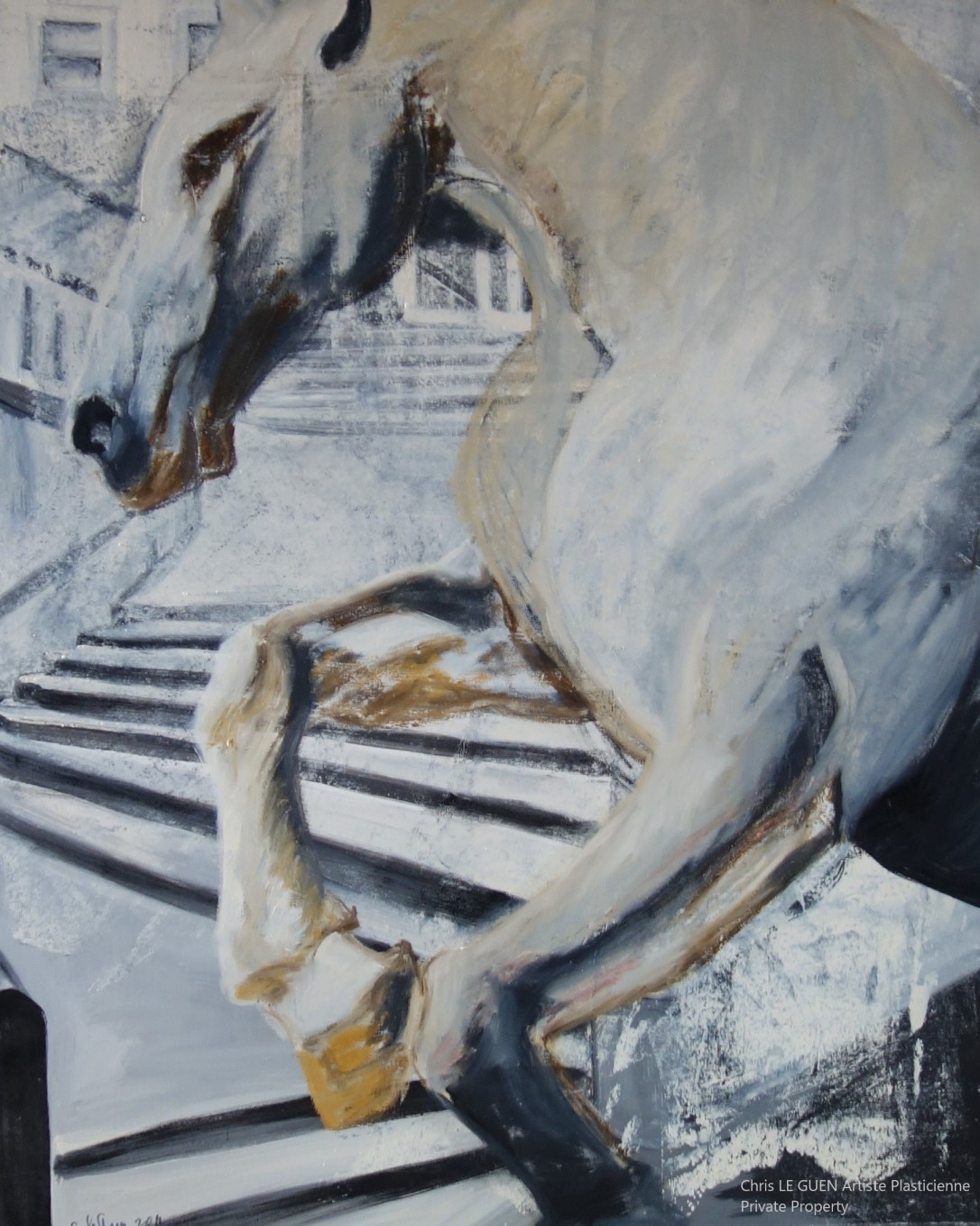 Cheval N°5 peint par Chris Le Guen Artiste Plasticienne Peintre et Sculptrice
