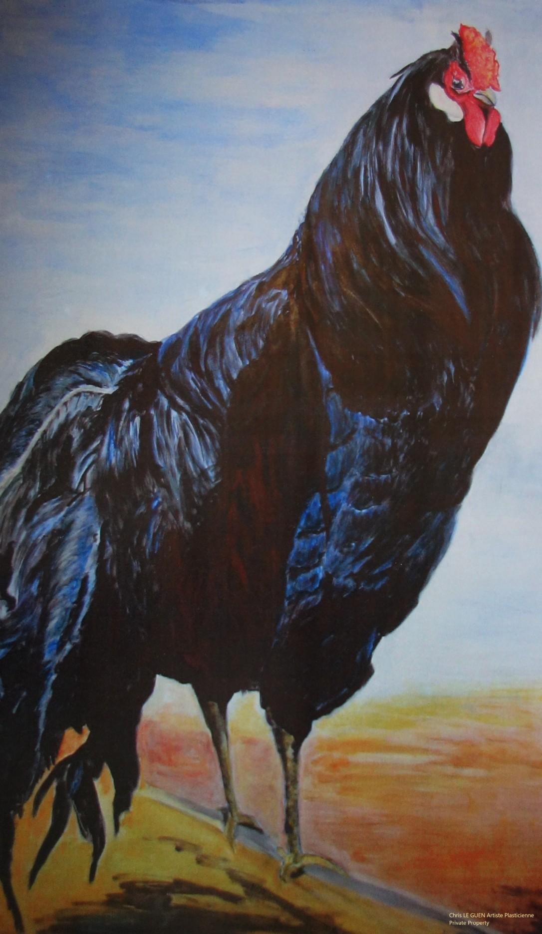 Coq N°1 a été peint par Chris Le Guen Artiste Plasticienne Peintre et Sculptrice