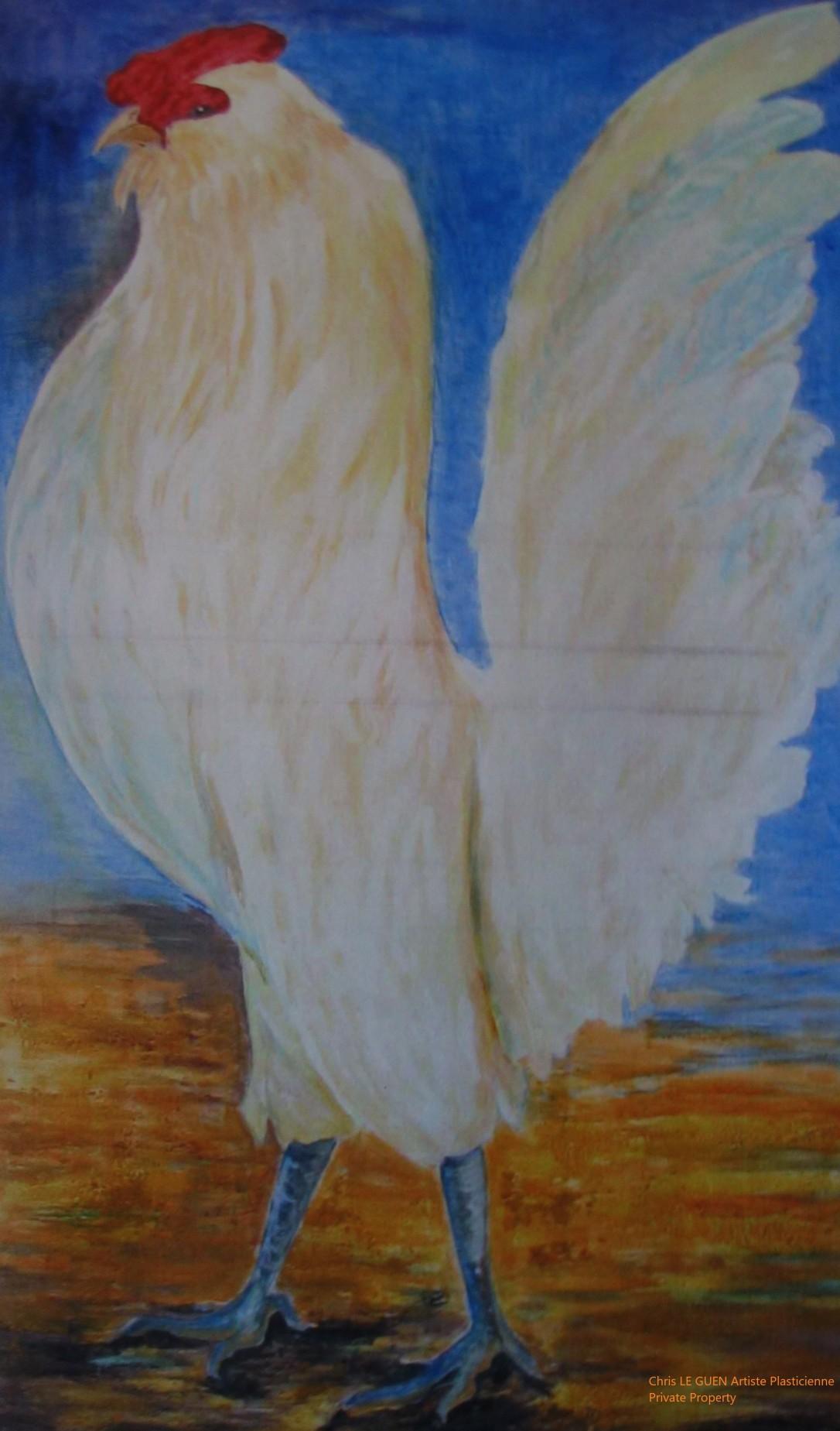 Chris Le Guen Artiste Plasticienne Peintre et Sculptrice a peint Coq N°2