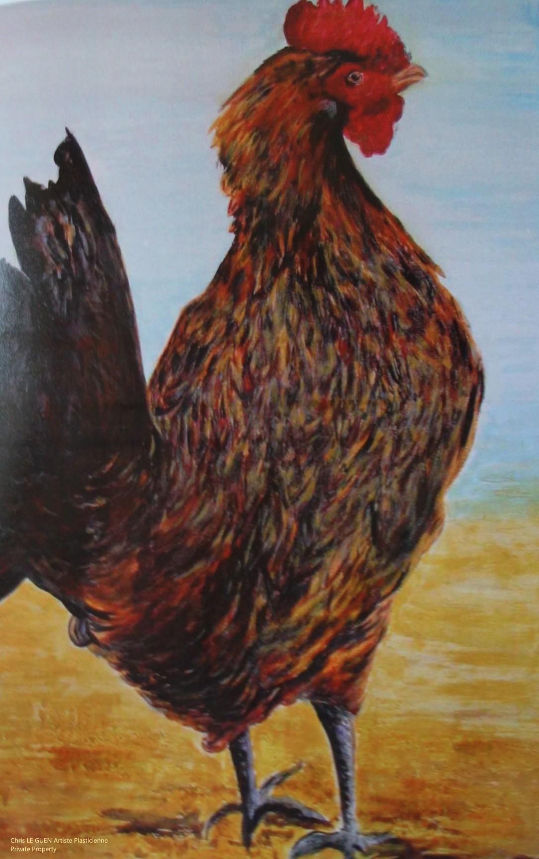 Coq N°3 peint par Chris Le Guen Artiste Plasticienne Peintre et Sculptrice