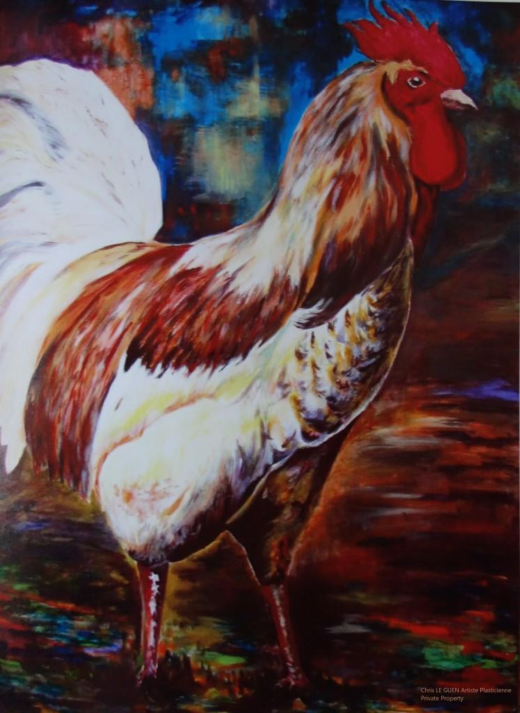 Coq N°4 a été fait par Chris Le Guen Artiste Plasticienne Peintre et Sculptrice