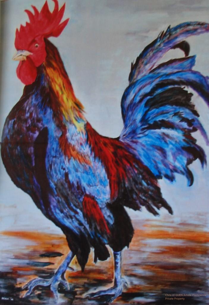 Coq N°5 par Chris Le Guen Artiste Plasticienne Peintre et Sculptrice