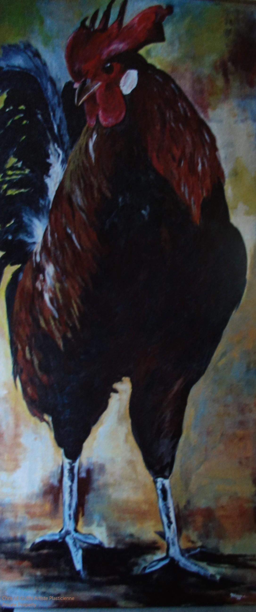 Chris Le Guen Artiste Plasticienne Peintre et sculptrice a peint Coq N°6
