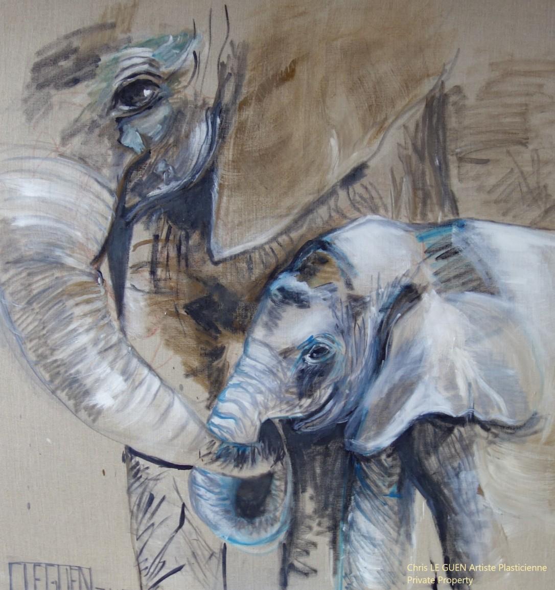Famille Éléphants a été peint par Chris Le Guen Artiste Plasticienne Peintre et Sculptrice