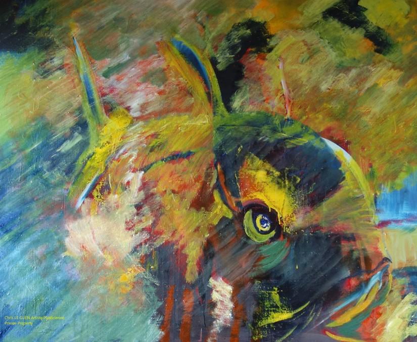 Fish peint par Chris Le Guen Artiste Plasticienne Peintre et Sculptrice