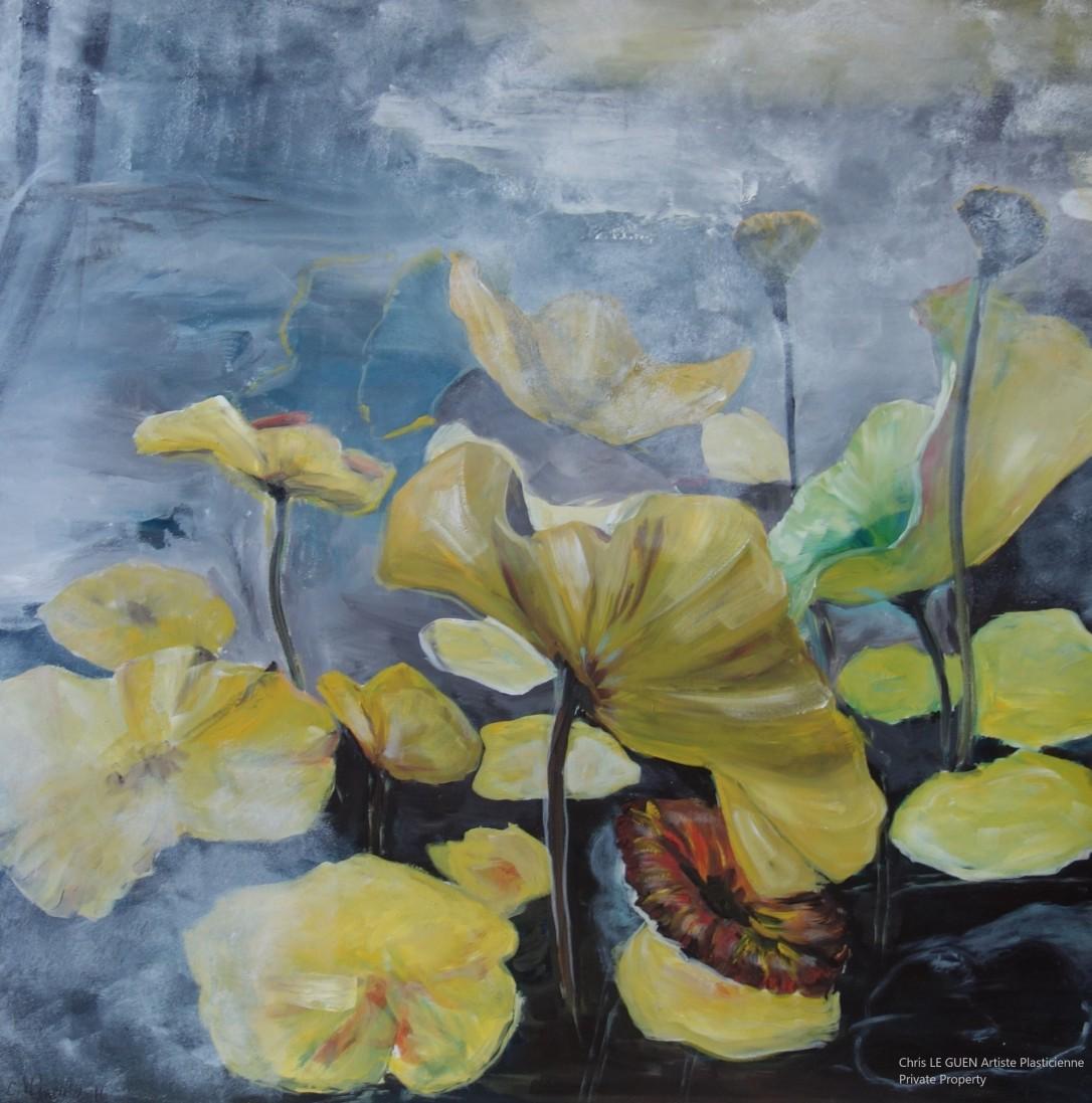 Fleur de Lotus a été peint par Chris Le Guen Artiste Plasticienne Peintre et Sculptrice