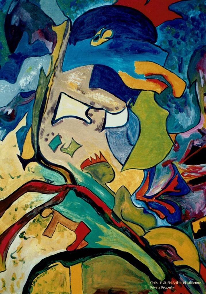 Horus peint par Chris Le Guen Artiste Plasticienne Peintre et Sculptrice