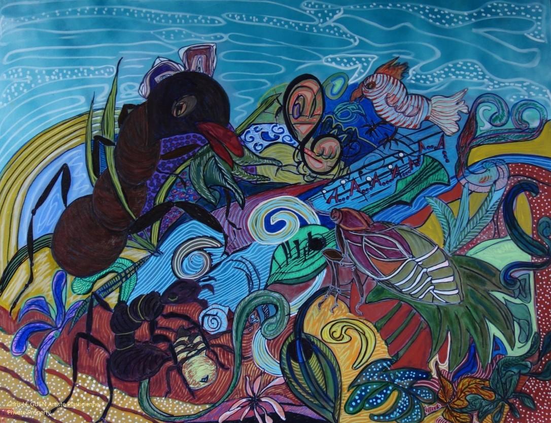 La Cigale et la Fourmi peint par Chris Le Guen Artiste Plasticienne Peintre et Sculptrice