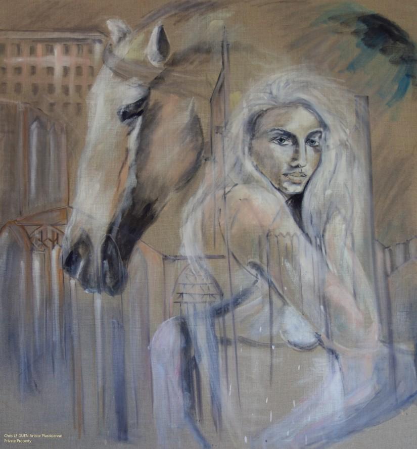 La Légende de Lady Godiva peint par Chris Le Guen Artiste Plasticienne Peintre et Sculptrice