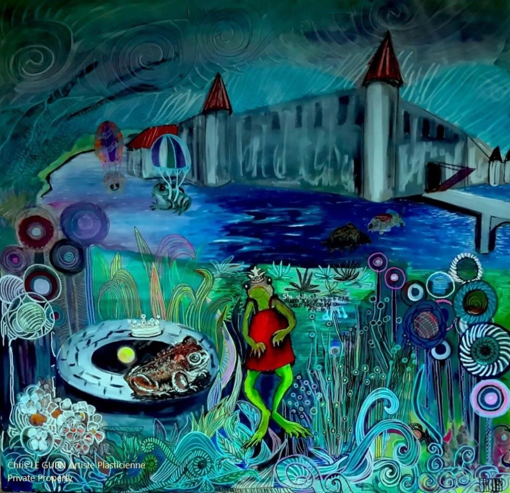 La Princesse et le Crapaud a été peint par Chris Le Guen Artiste Plasticienne Peintre et Sculptrice