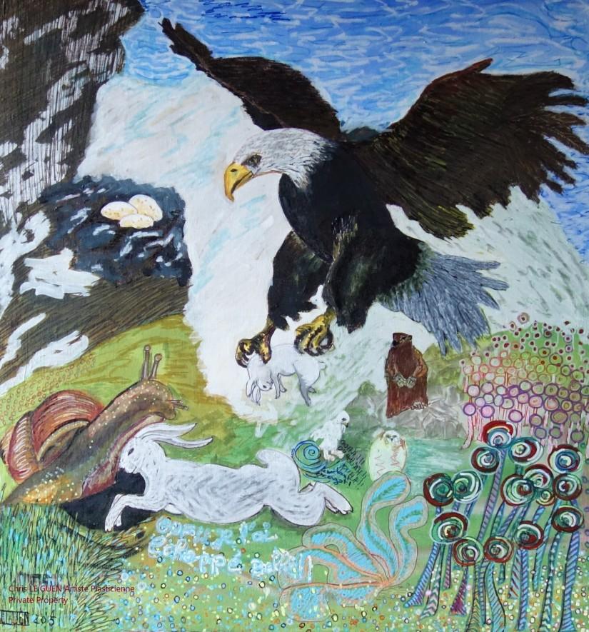 L'Aigle et l'Escarbot peint par Chris Le Guen Artiste Plasticienne Peintre et Sculptrice