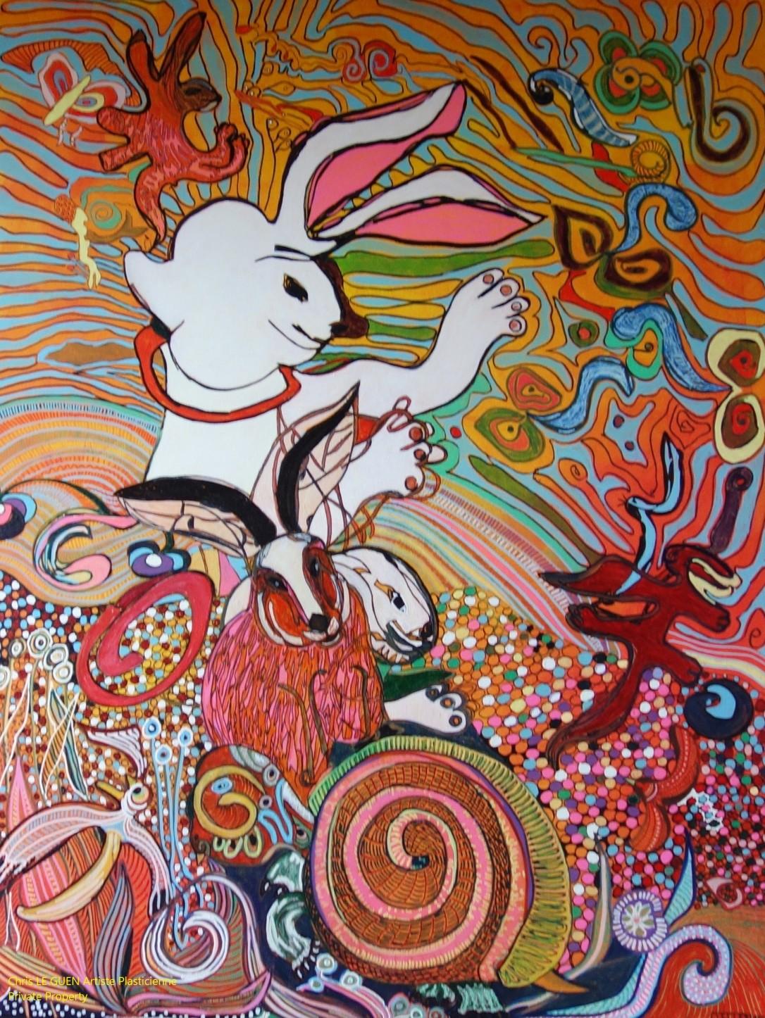 Chris Le Guen Artiste Plasticienne Peintre et Sculptrice a fait Le Lièvre et la Tortue
