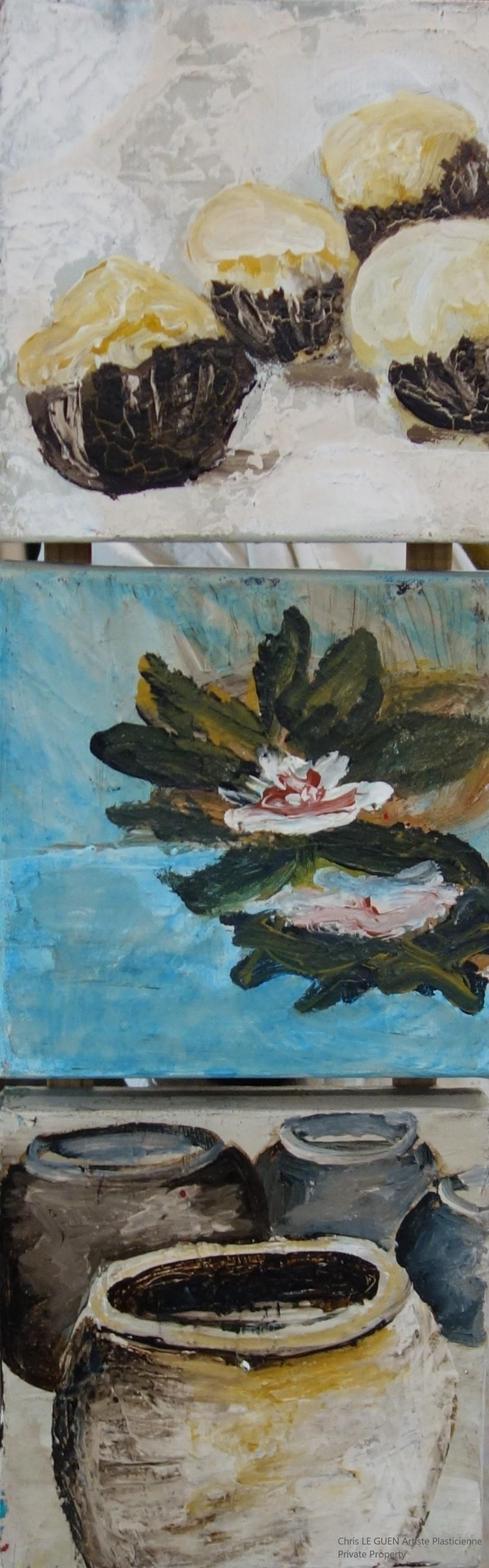 Nénuphar peint par Chris Le Guen Artiste Plasticienne Peintre et Sculptrice