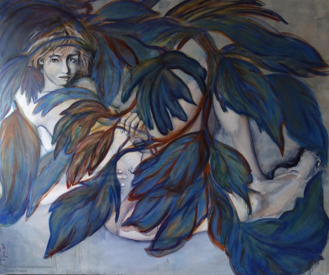 Nue à la Feuille peint par Chris Le Guen Artiste Plasticienne Peintre et Sculptrice