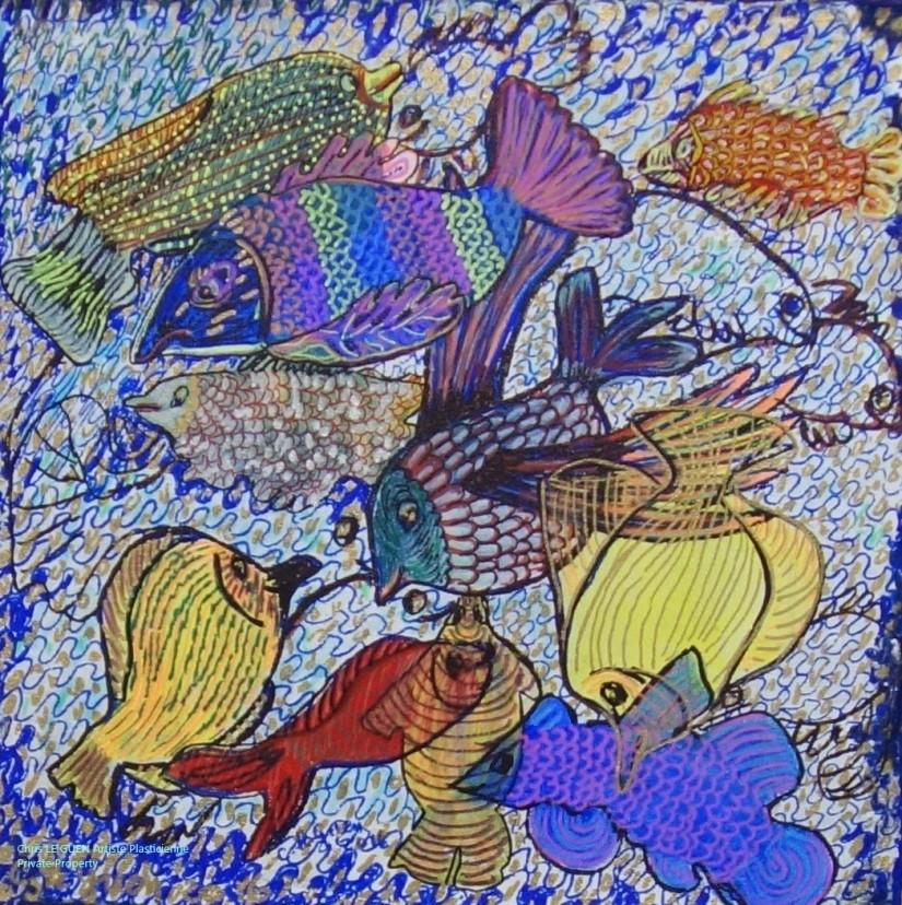 Poissons peint par Chris Le Guen Artiste Plasticienne Peintre et Sculptrice