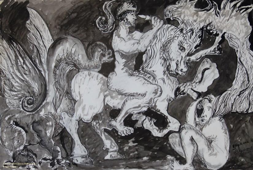 Chris Le Guen Artiste Plasticienne Peintre et Sculptrice a dessiné Saint-Michel terrassant le Dragon bis