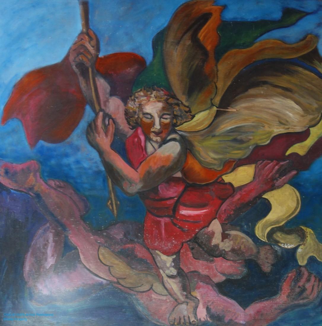 Saint-Michel Terrassant le Dragon est une création de Chris Le Guen Artiste Plasticienne Peintre et Sculptrice