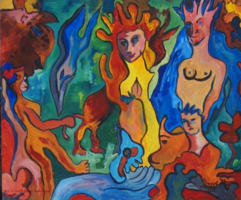 Chris Le Guen Artiste Plasticienne Peintre et Sculptrice a peint The Family