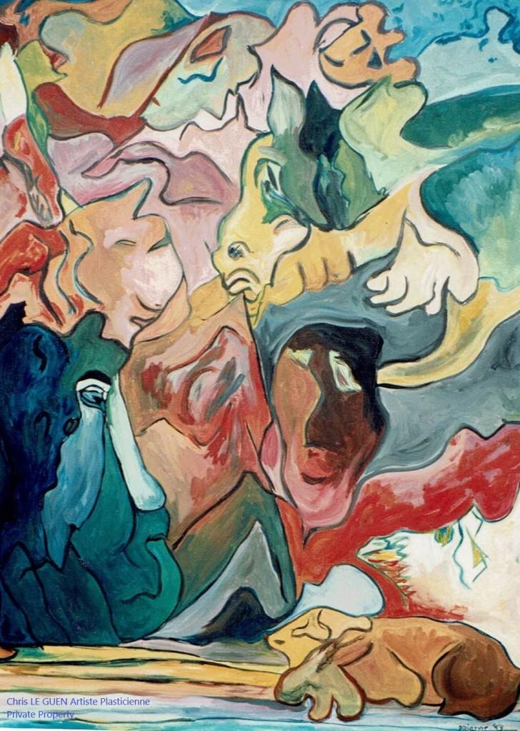 Tibet a été peint par Chris Le Guen Artiste Plasticienne Peintre et Sculptrice