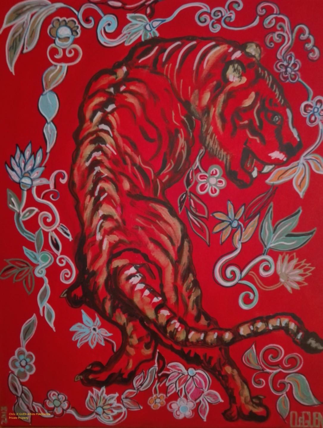 Tigre N°7 a été peint par Chris Le Guen Artiste Plasticienne Peintre et Sculptrice