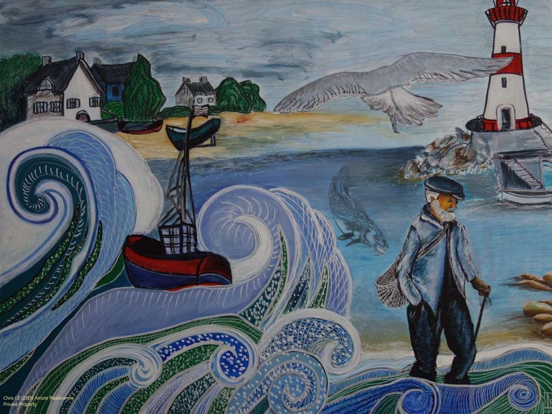 Chris Le Guen Artiste Plasticienne Peintre et Sculptrice a peint Vagues