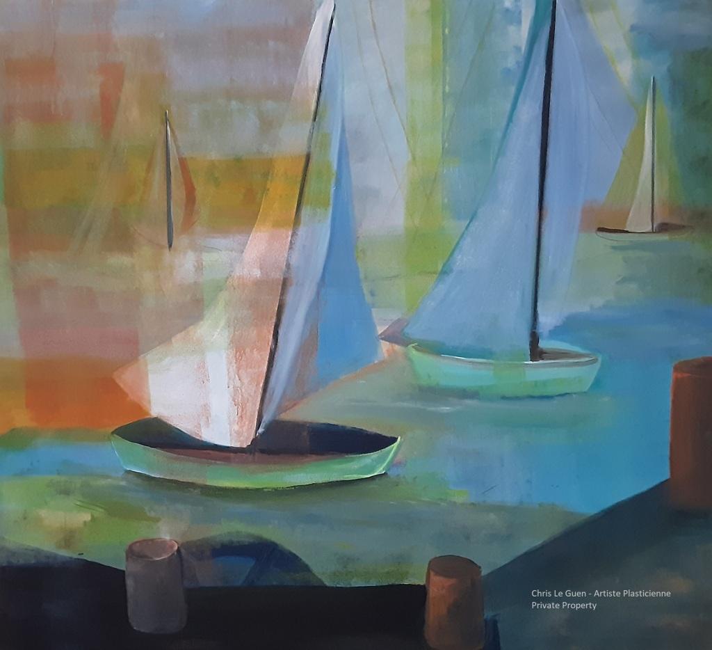Bateau N°3 est peint par Chris Le Guen Artiste Plasticienne à Saint-Perreux dans le Morbihan