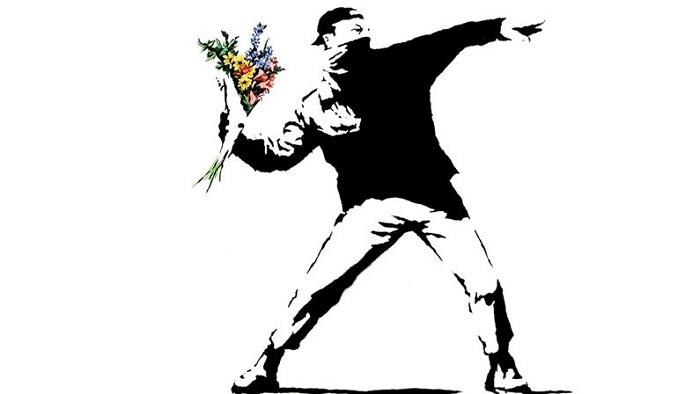 Rage, the Flower Thrower - Banksy -