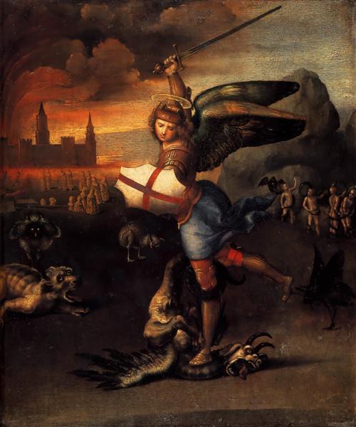 Saint Michel et le Dragon peint par Raphaël. C est une Peinture à l'Huile sur Panneau de 29.5 x 25.5 cm faite vers 1503-1505. ©Wiki-art