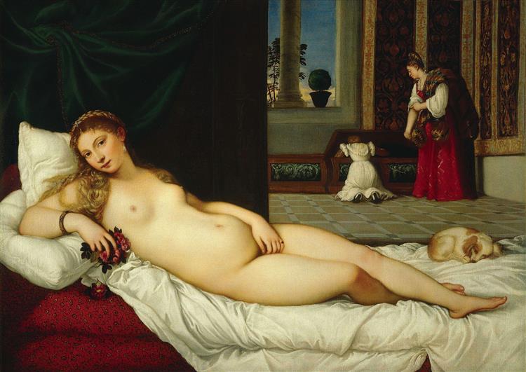 Vénus d'Urbin de Titien est une Peinture à l Huile sur Toile de 119 x 165 cm en 1538 ©Wiki-art