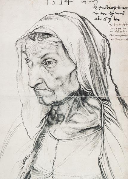 Portrait de sa mère dessiné par Albrecht Durer en 1514