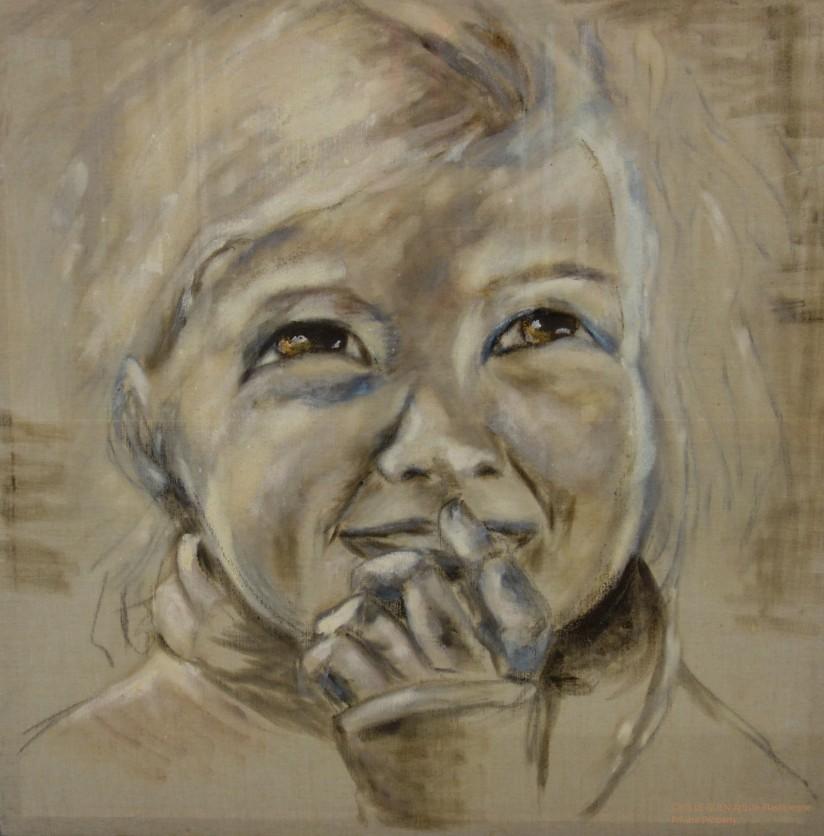 La Petite Nièce a été peint par Chris Le Guen Artiste Plasticienne Peintre et Sculptrice