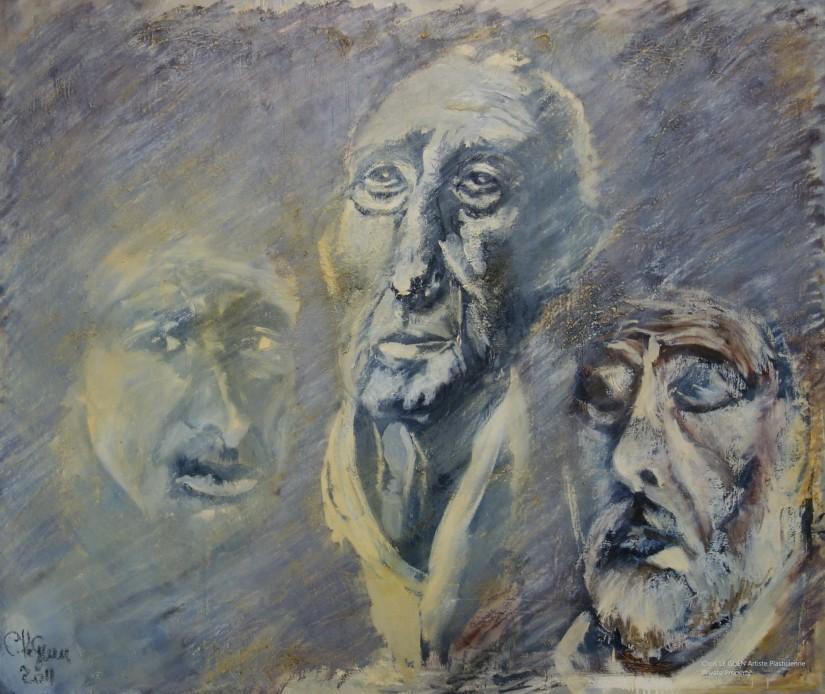 Chris Le Guen Artiste Plasticienne Peintre et Sculptrice a fait L'Acteur, le Philosophe et le Bandit