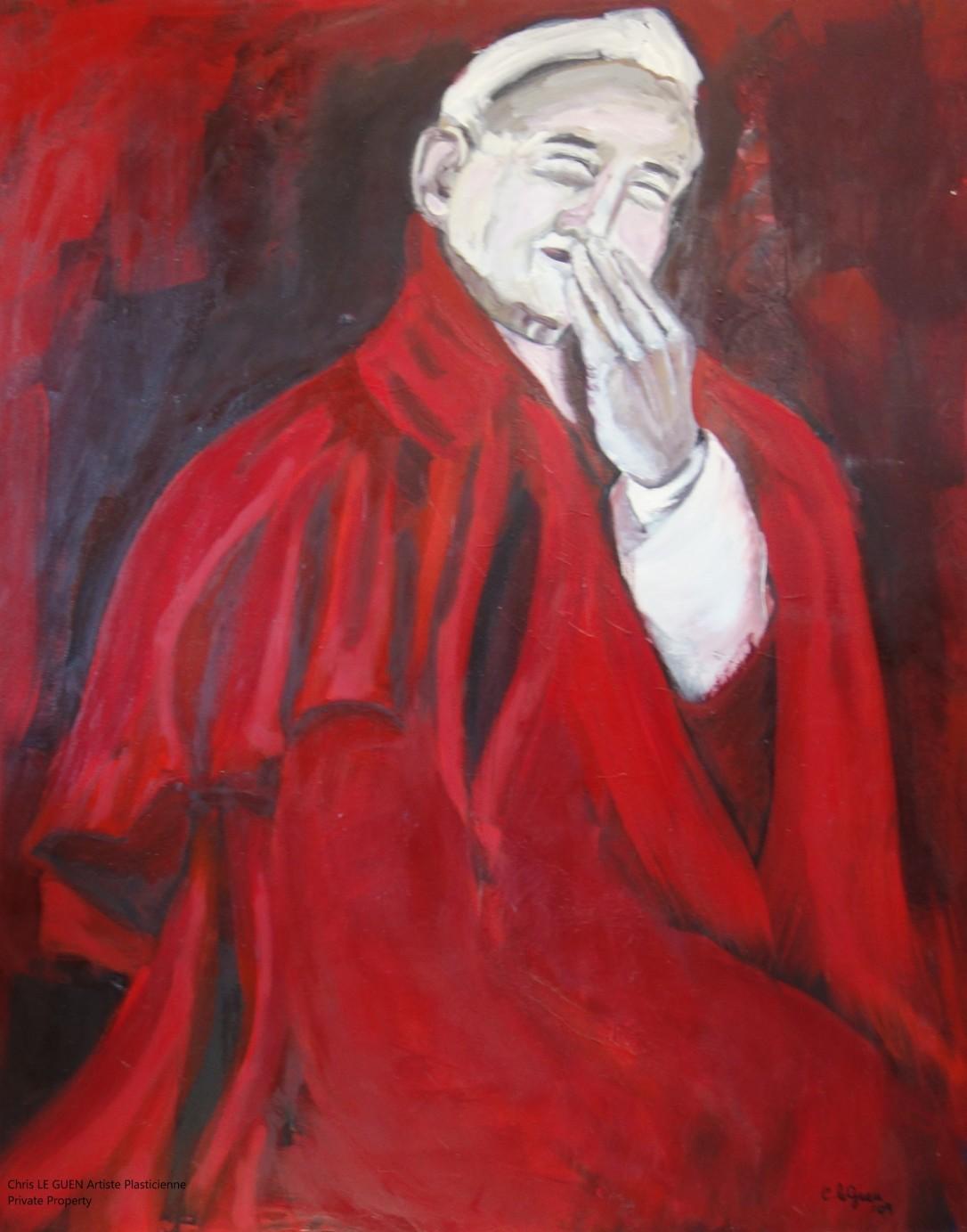 Chris Le Guen Artiste Plasticienne Peintre et Sculptrice a peint Lauphing Pope N°1