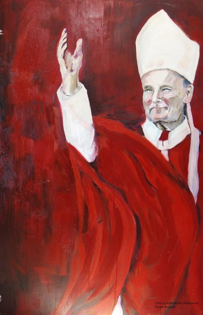 Laughing Pope N°2 peint par Chris Le Guen Artiste Plasticienne Peintre et Sculptrice