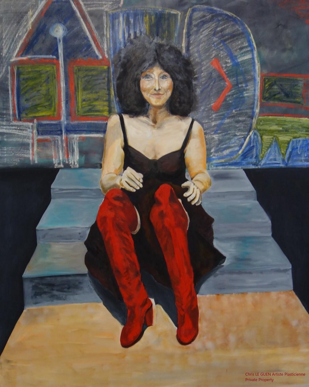 Chris Le Guen Artiste Plasticienne Peintre et Sculptrice a peint Les Bottes Rouges