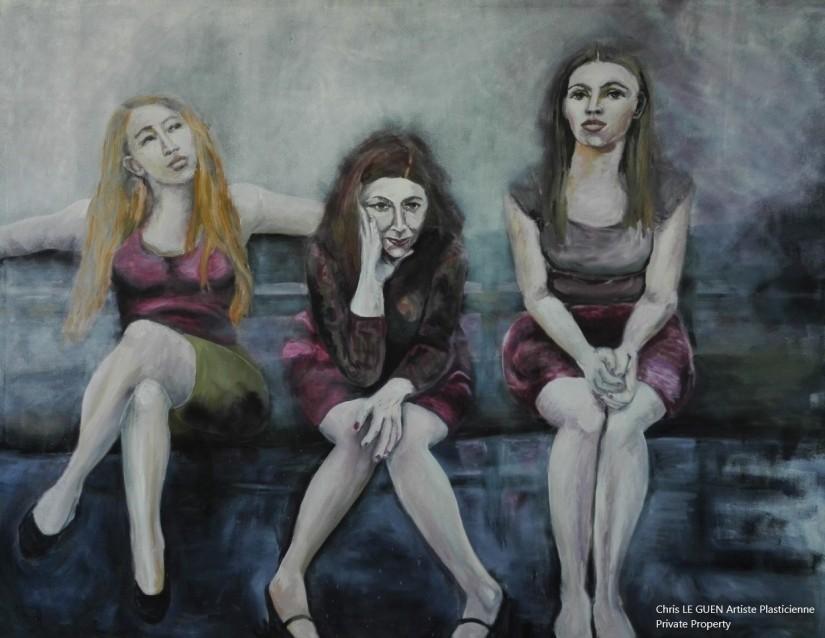 Les Trois Femmes a été peint par Chris Le Guen Artiste Plasticienne Peintre et Sculptrice