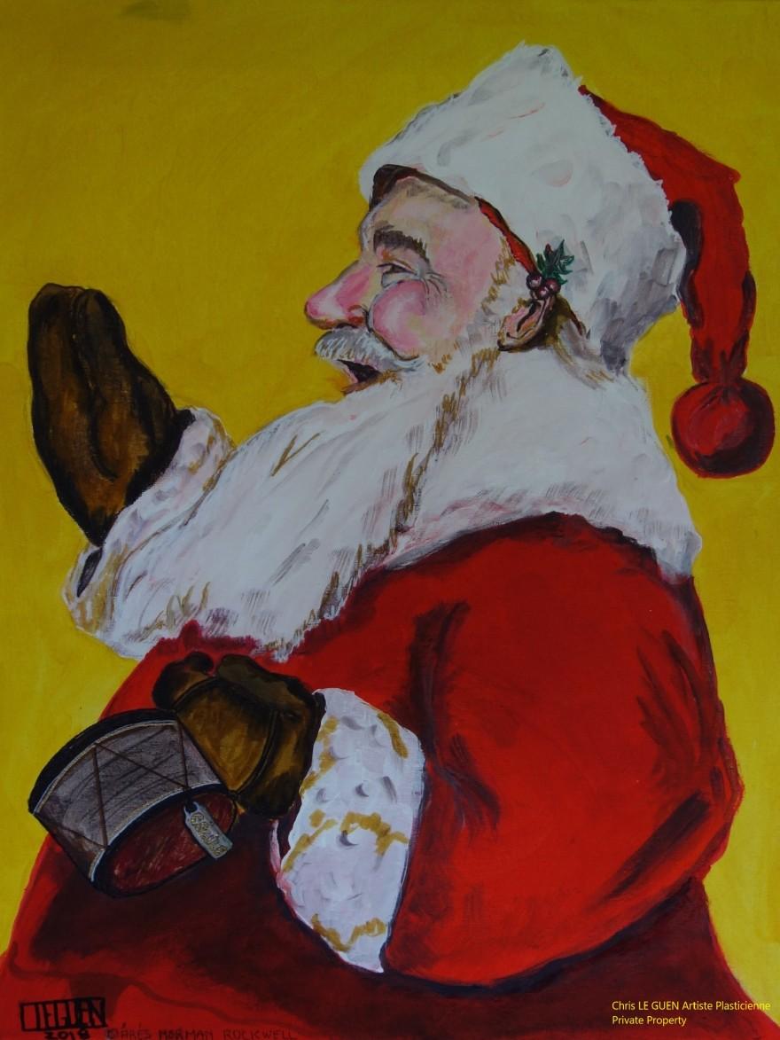 Santa Claus a été peint par Chris Le Guen Artiste Plasticienne Peintre et Sculptrice